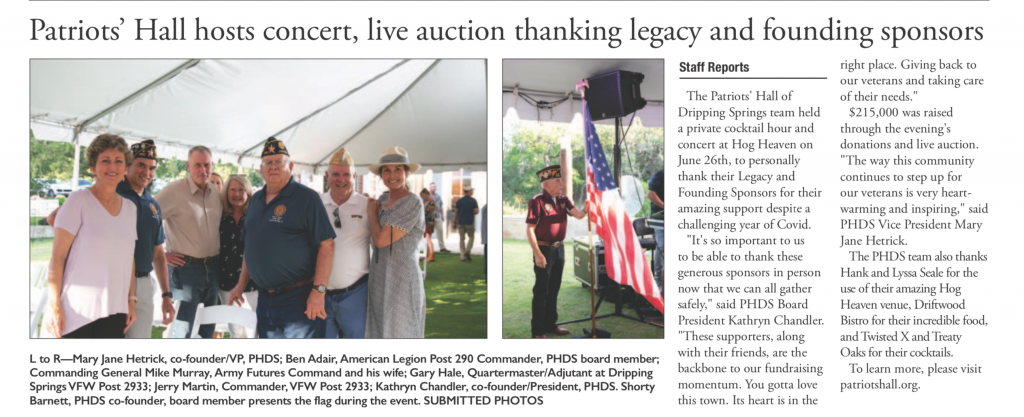 Dripping Springs Century News Article